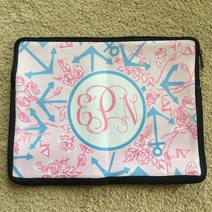 Lilly Pulitzer inspired laptop sleeve monogram EPN